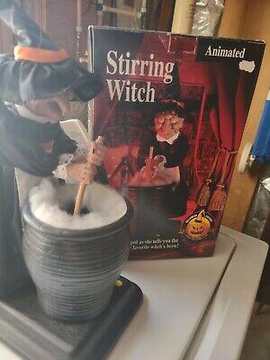 """VTG Halloween Electronic Animated Witch Stirring Cauldron 16"""" HTF"""