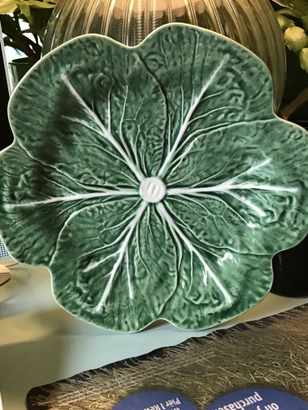 "Bordallo Pinheiro Dinner Plate Green Cabbage Portugal Majolica Vintage 10.5"""