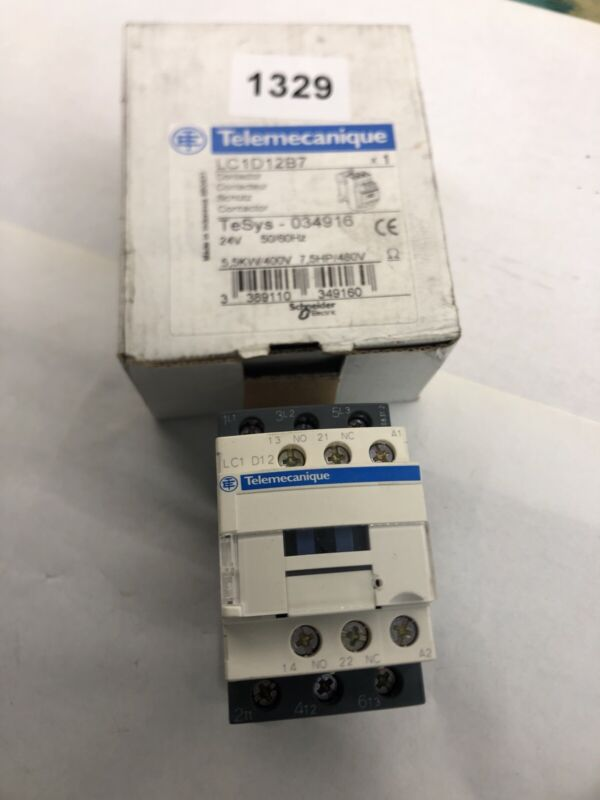 SCHNEIDER ELECTRIC LC1D12B7 24VAC  24V coil Contactor  12A 3 pole With Aux