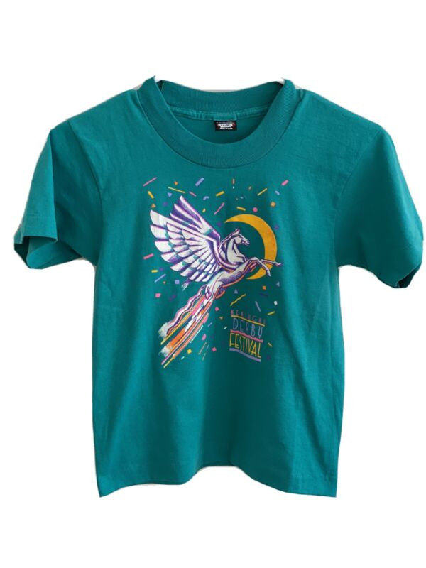 Cosmic VTG 80s Kentucky Derby Kids Sz 10-12 T Shirt Unicorn 🦄 Moon 🌙 50/50 USA