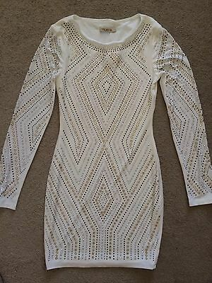 Cheap Sequin Shorts (Arden B Long-Sleeve Studded Sequin Flash Diamond Dress White Gold Extra Small)