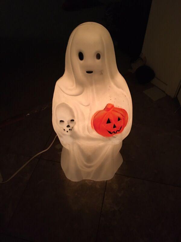Vintage Spooky Sheet Ghosts Pumpkin & Skull Lighted Halloween Blow Mold Empire