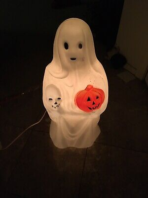 Vintage Spooky Sheet Ghosts Pumpkin & Skull Lighted Halloween Blow Mold Empire