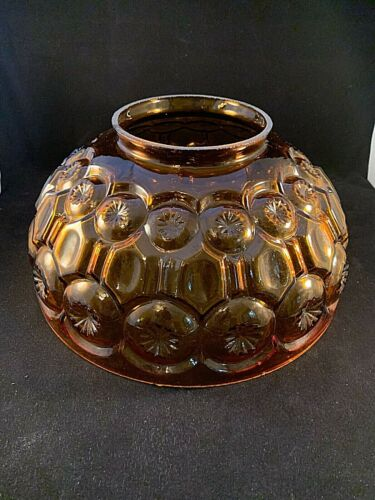"""LARGE VINTAGE 14"""" AMBER PUFFY GLASS PARLOR SHADE"""