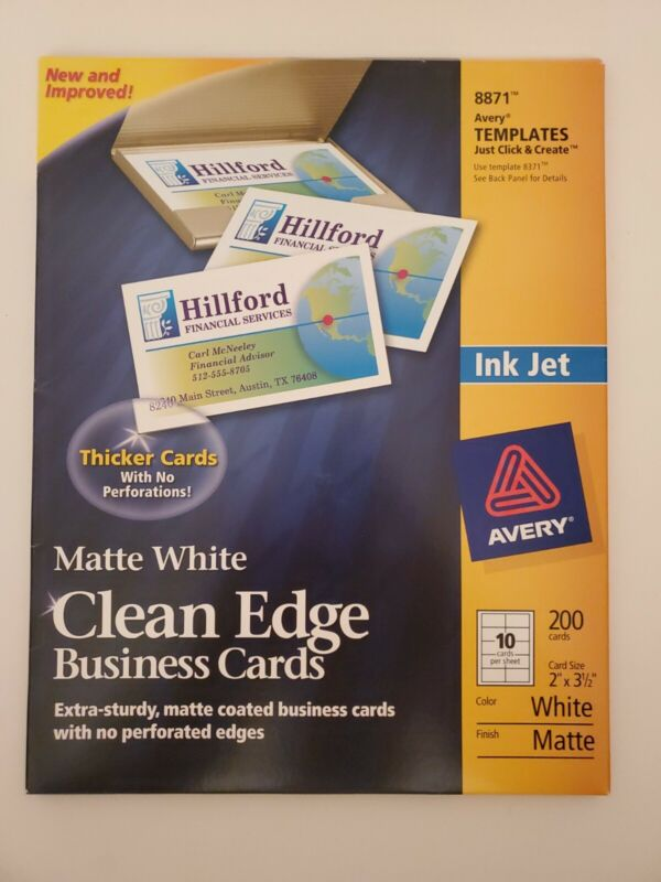 "Avery 8871 Clean Edge Matte White Business Cards Ink Jet 2"" x 3 1/2"" Pack 200"