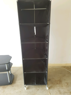 Ikea black clothes organizer wardrobe compact on wheels