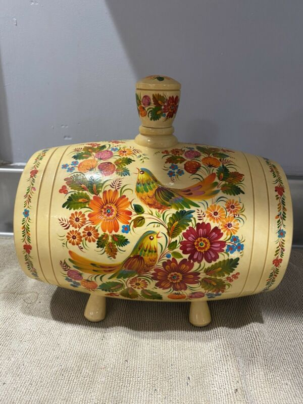 Ukrainian Painted Wood Cask Gorgeous Colors