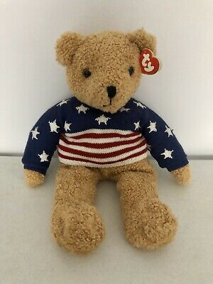 TY Beanie Stars and Stripes Curly Teddy Bear 1991 Collectors Vintage USA 26