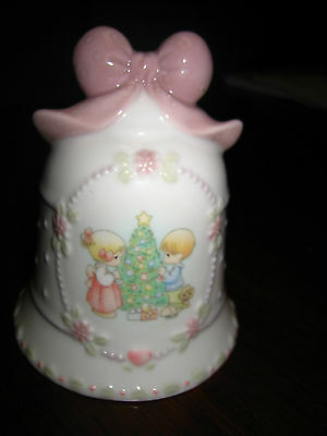 VINTAGE 1997 DECORATIVE PRECIOUS MOMENTS CHRISTMAS BELL W/POEM ON BACK~ENESCO~