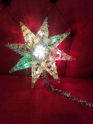 "Vtg Lighted Star Christmas Tree Topper 11 Lights Silver Tinsel 8"""