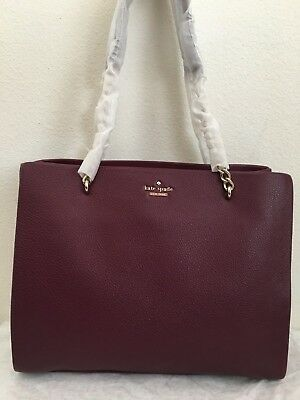 NWT Kate Spade Emerson Place Smooth Phoebe Leather Tote Bag $398 Mahogany