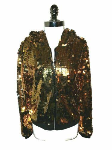URBAN GROOVE Size L LA Dance Costume Black Gold Sequins Hoodie Hip Hop Jazz