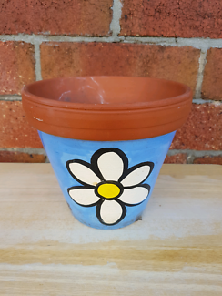 Small painted terracotta plant pot