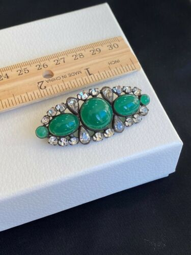 Vintage Antique Art Deco Green Chalcedony Rhinestone Bar Brooch Pin 2.25""