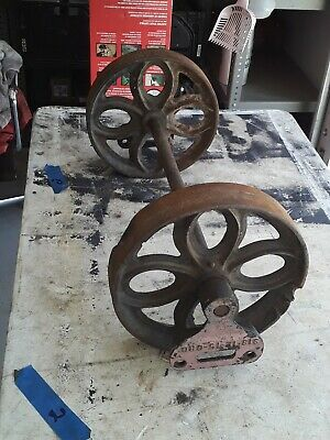 Pair Of Authentic Lineberry Cart Tulip Cast Iron Wheels With Axle And Holders 2