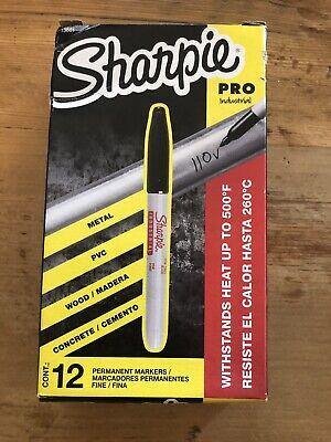 Sharpie Pro 13601 Industrial Super Permanent Ink Marker Fine Black Box Of 12