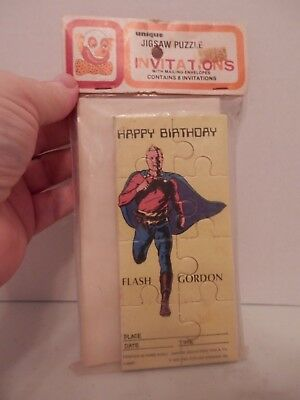 Vintage Boy Birthday Party Invitations-8 Flash Gordon Puzzles - Cheap Party Invitations