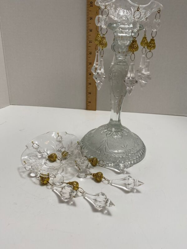 Vtg Lot 2 candle Drip Catchers Hanging Prism Crystals Only