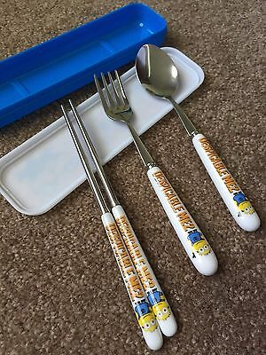 Despicable Me Minions 3 Piece Ceramic Stainless Steel Dinner Cutlery Set w/ Box