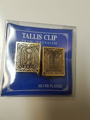 Silver Plated Clips Tallit Tallis Talis Judaica Gift Jerusalem - Torah (Silver Tallit Clips)