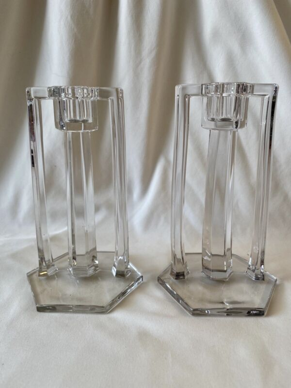 "Vintage Art Deco 6-1/2"" Clear Glass Candel Holders Hexagon 6-sided Base"