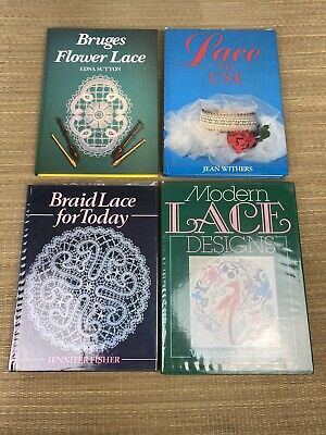 4 X Lace Making Books, Vintage Craft Book Bundle, Hardback MY24