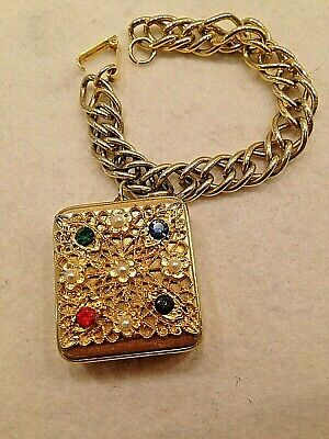 Vintage 50s Gold Music Box Charm Bracelet Plays Anniversary Waltz Excellent BIN Charm Music Box