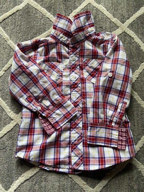 OLDNAVY Todder Boy 3T Collared Button Down Dress Shirt Red Blue White Plaid EUC