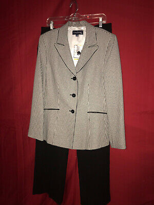 Evan-Picone Womens White/Black Suit With Blazer Sz 14 & Pants Size 14 NWT