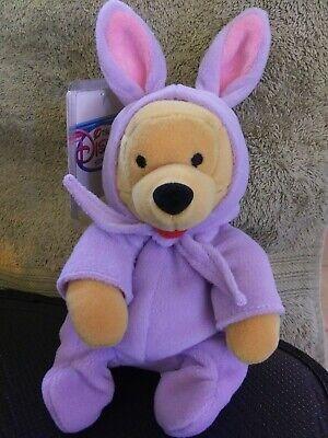 "NEW w/tag + protector- Disney Store -EASTER POOH- 8"" Bean Bag Plush Halloween"
