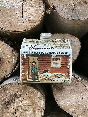 16.9 Oz Organic Pure Vermont Maple Syrup Log Cabin Tin Log Cabin Maple Syrup