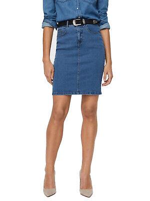 Blaue Jeans Kleidung ( Vero Moda Damen Jeans-Rock High Waist Pencil Schlitz hoher Bund blau knielang )