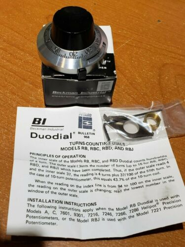 NEW Beckman Model RB Duodial 2 Potentiometer Counting Dial Knob Helipot 15 Turn