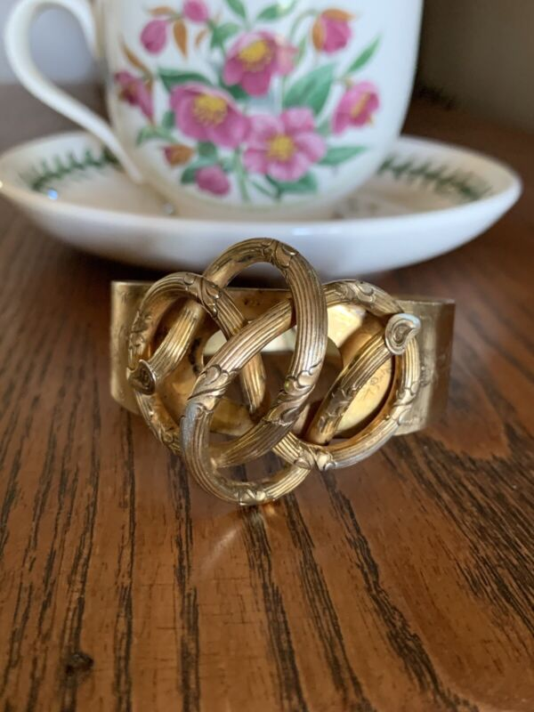 XL Knot Wood Antique FRENCH Gold Vermeil SILVER Bracelet Victorian Bangle Cuff