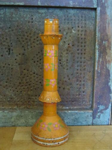 "Old Primitive Tin Metal Candle stick holder old paint Pink Flowers Orange 9 1/2"""
