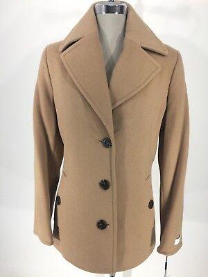 Calvin Klein New WT Modern CAMEL wool cashmere blend Coat Women