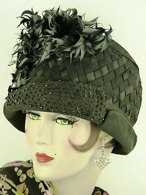 Antique HAT ORIG 1920s FRENCH CLOCHE, BLACK RIBBON WEAVE  w BEADWORK & FEATHERS