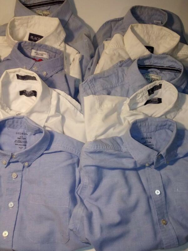 Boys Lot of 10 School Uniform Shirts. Size 10-12.*6Blue 4White*