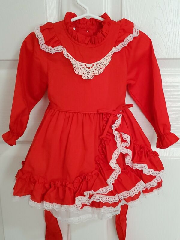 VTG 2T Girls Sears Disney Winnie the Pooh Red Circle Valentine Dress w Crinoline