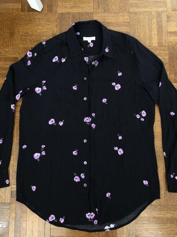 Equipment Femme Women's Essential Silk Crepe Blouse Top Shirt Small Sample Black