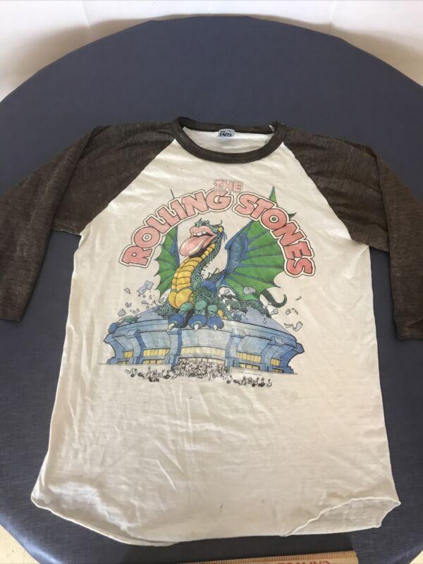Vintage 1981 Rolling Stones Tour 50/50 Raglan Baseball Shirt Large 80s NOLA