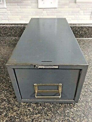 Vintage Steelmaster Metal Single Drawer Card File Cabinet 16 X 7.5 X 6.5