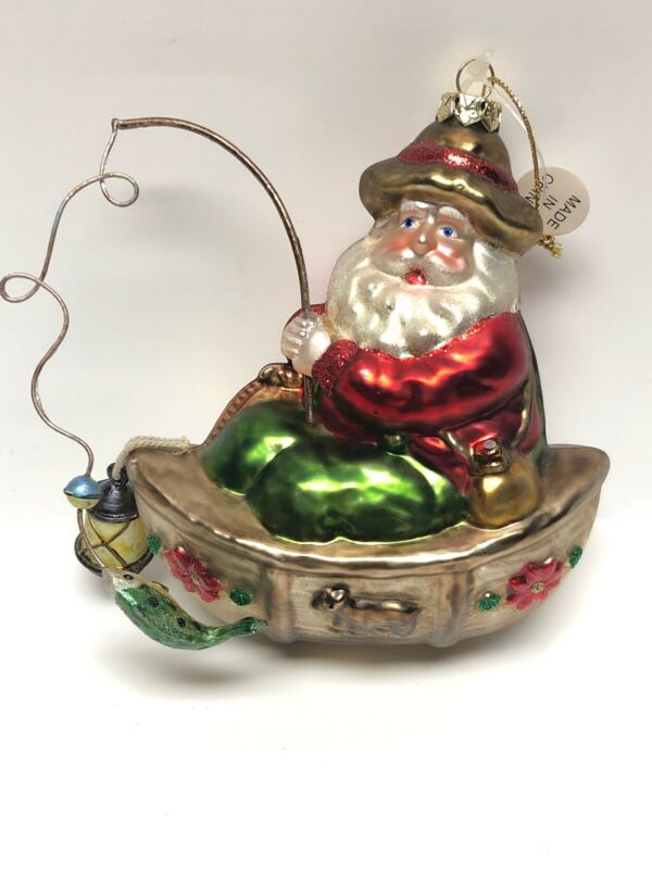 Santa Fishing Glass Ornament NEW!