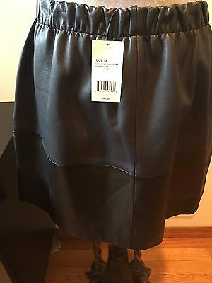 NEW VINCE  BLUE BLACK LEATHER ELASTIC WAIST MINI SKIRT SIZE M POCKETS