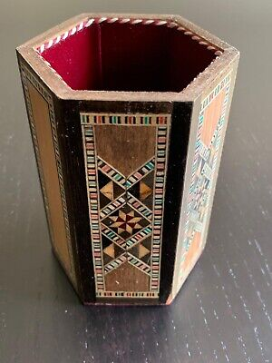 Wooden Pencil Holder (Vintage Mosaic Wooden Pen Pencil Holder)