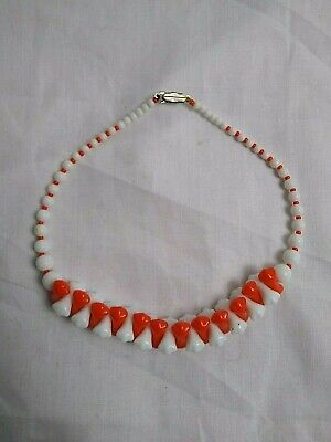 60s -70s Jewelry – Necklaces, Earrings, Rings, Bracelets Vintage 1950s/1960s ORANGE & WHITE Silver Metal Clasp Hard PLASTIC NECKLACE $6.90 AT vintagedancer.com