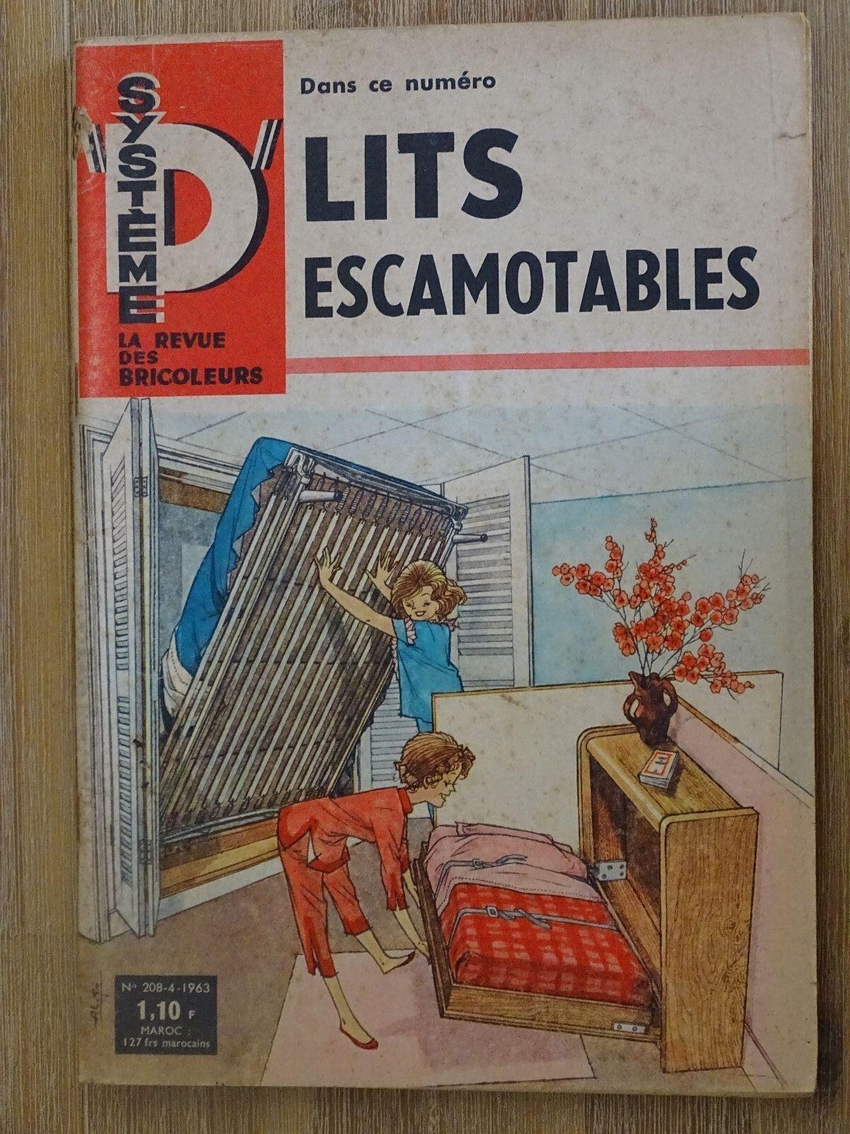 Système d- la revue des bricoleurs  ''lits escamotables'' numéro 208 avril 1963