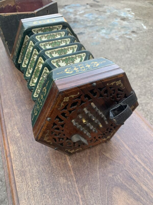 Antique WHEATSTONE & CO 48 Button CONCERTINA w/ Leather Bellows & Part Box Early