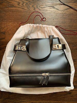 NEW -Salvatore Ferragamo Gancini Hand Bag Black Leather Italy Vintage V20001