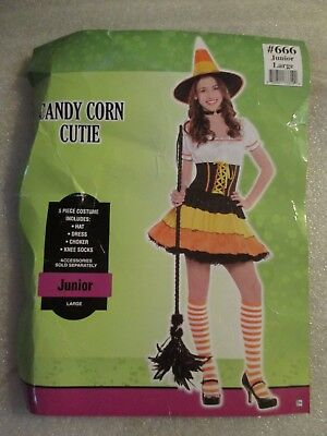 Cute Juniors Teen Girls Halloween Costume Candy Corn Cutie Dress Sz Large 11-13